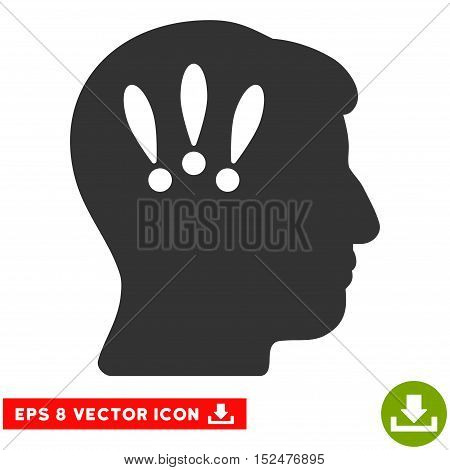 Head Problems EPS vector icon. Illustration style is flat iconic gray symbol on white background.