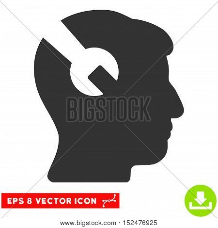 Head Surgery Wrench EPS vector pictograph. Illustration style is flat iconic gray symbol on white background.