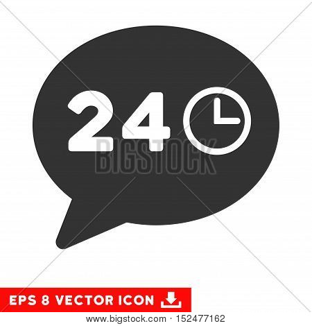 Message Hours EPS vector pictograph. Illustration style is flat iconic gray symbol on white background.
