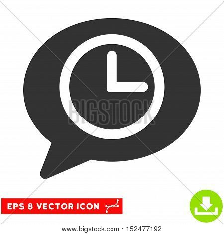 Message Time EPS vector pictograph. Illustration style is flat iconic gray symbol on white background.
