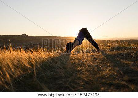 Woman doing yoga downward dog pose during evening sunset
