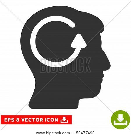 Refresh Head Memory EPS vector pictogram. Illustration style is flat iconic gray symbol on white background.