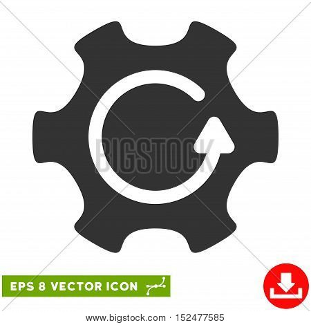 Rotate Gear EPS vector pictogram. Illustration style is flat iconic gray symbol on white background.