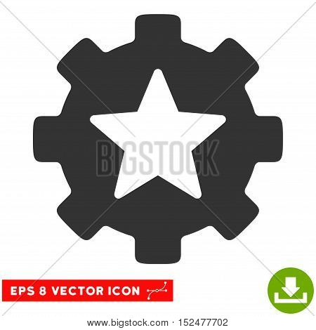 Star Favorites Options Gear EPS vector pictogram. Illustration style is flat iconic gray symbol on white background.