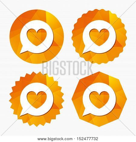 Chat sign icon. Speech bubble with heart symbol. Communication chat bubble. Triangular low poly buttons with flat icon. Vector