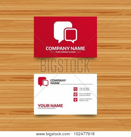 Business card template. Chat sign icon. Speech bubbles symbol. Communication chat bubbles. Phone, globe and pointer icons. Visiting card design. Vector