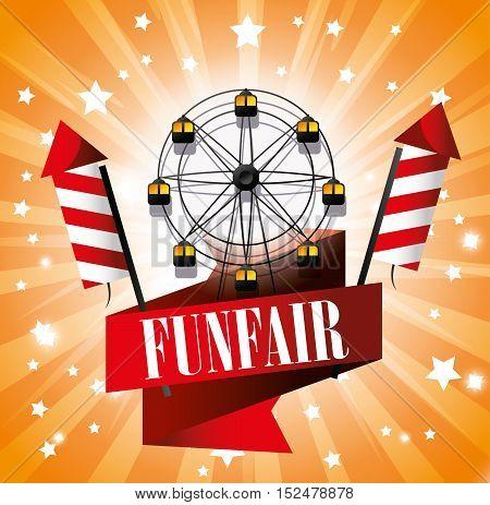 ferris wheel festival funfair fireworks vector illustration eps 10