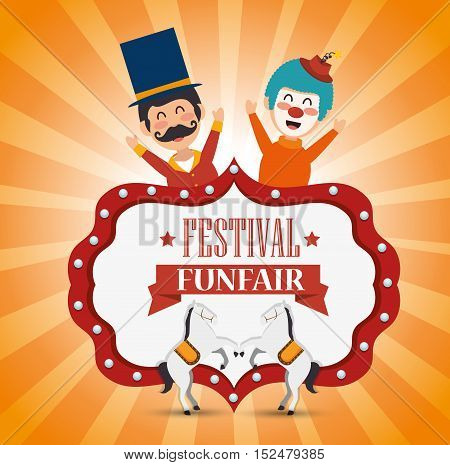 poster festival funfair clown and horses fun vector illustration eps 10