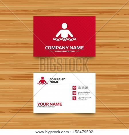 Business card template. Swimming sign icon. Pool swim symbol. Sea wave. Phone, globe and pointer icons. Visiting card design. Vector