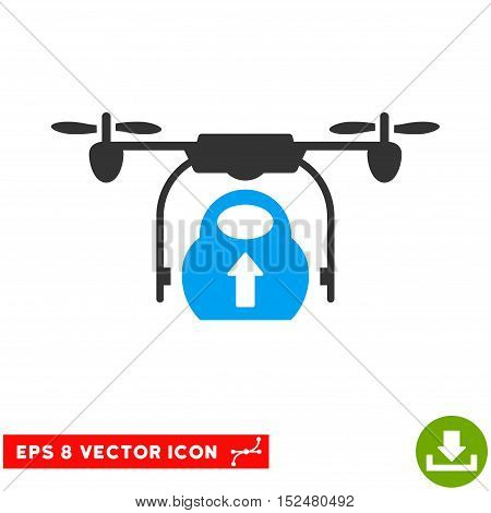 Load Cargo Drone EPS vector icon. Illustration style is flat iconic bicolor blue and gray symbol on white background.