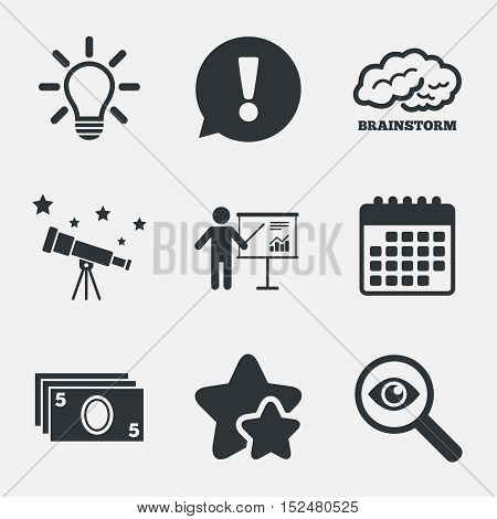 Presentation billboard, brainstorm icons. Cash money and lamp idea signs. Man standing with pointer. Scheme and Diagram symbol. Attention, investigate and stars icons. Telescope and calendar signs