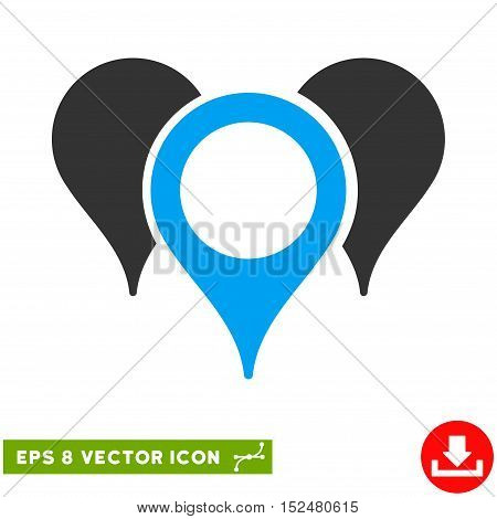 Map Pointers EPS vector pictograph. Illustration style is flat iconic bicolor blue and gray symbol on white background.