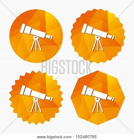 Telescope icon. Spyglass tool symbol. Triangular low poly buttons with flat icon. Vector