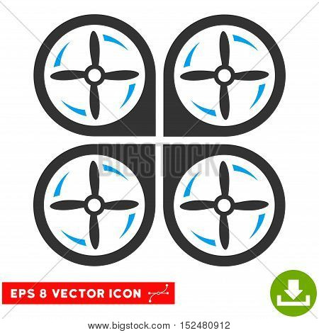 Quadrotor Screws Rotation EPS vector pictograph. Illustration style is flat iconic bicolor blue and gray symbol on white background.
