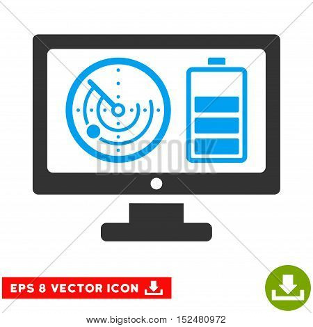 Radar Battery Control Monitor EPS vector pictograph. Illustration style is flat iconic bicolor blue and gray symbol on white background.