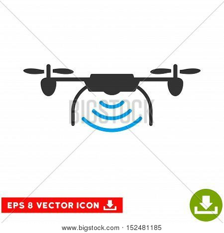 Radio Transmitter Airdrone EPS vector pictograph. Illustration style is flat iconic bicolor blue and gray symbol on white background.