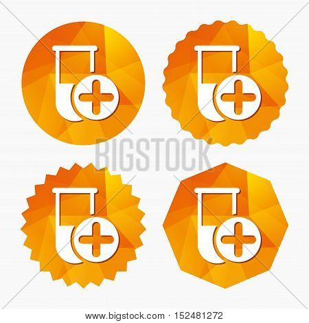 Medical test tube sign icon. Add new test with plus. Laboratory equipment symbol. Triangular low poly buttons with flat icon. Vector