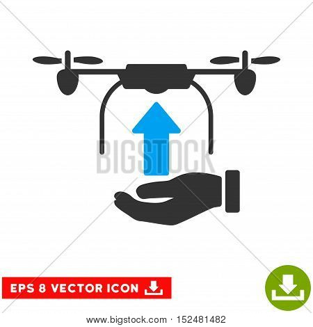 Send Drone Hand EPS vector pictogram. Illustration style is flat iconic bicolor blue and gray symbol on white background.