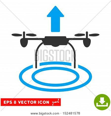 Start Drone EPS vector icon. Illustration style is flat iconic bicolor blue and gray symbol on white background.