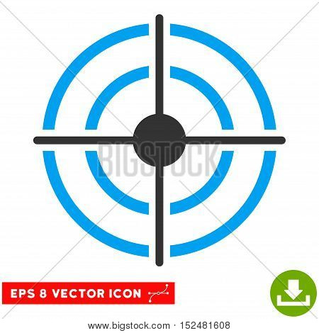 Target EPS vector pictogram. Illustration style is flat iconic bicolor blue and gray symbol on white background.