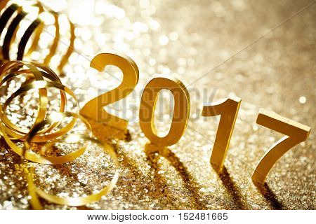 New year decoration,Closeup on 2017.