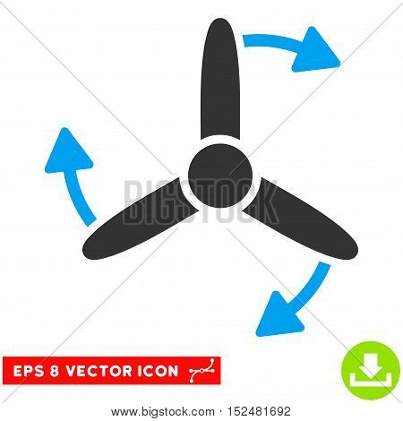 Three Bladed Screw Rotation EPS vector icon. Illustration style is flat iconic bicolor blue and gray symbol on white background.