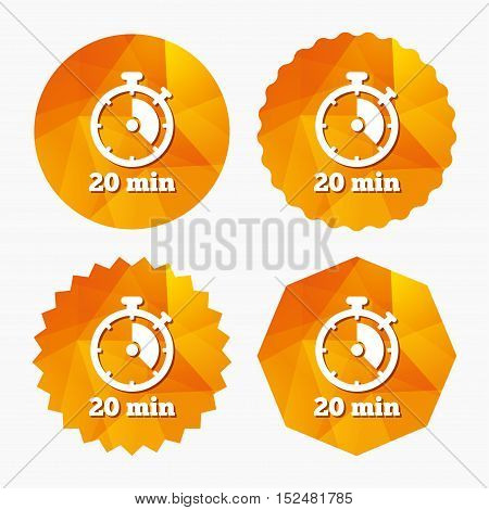 Timer sign icon. 20 minutes stopwatch symbol. Triangular low poly buttons with flat icon. Vector