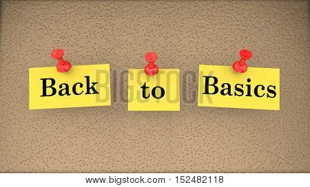 Back to Basics Saying Bulletin Board Main Principles 3d Illustration