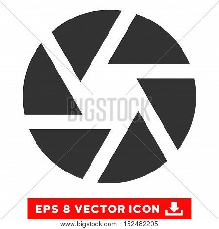 Shutter EPS vector icon. Illustration style is flat iconic gray symbol on white background.