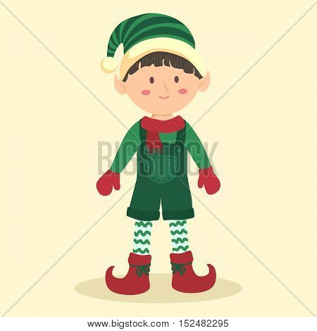 Vector illustration of Christmas greeting card with elf boy on simple cream background.