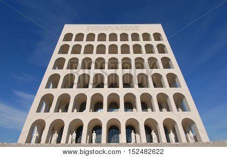 ROME, ITALY - JANUARY 27: Palazzo della Civiltà Italiana (or Square Coliseum), designed for the 1942 Universal Exposition and now the symbol of modern EUR district JANUARY 27, 2015 in Rome, Italy