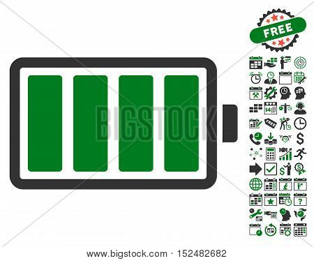 Battery pictograph with bonus calendar and time service pictures. Vector illustration style is flat iconic symbols, green and gray colors, white background.
