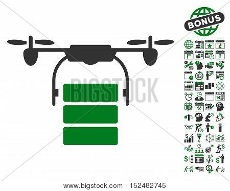 Cargo Drone icon with bonus calendar and time service clip art. Vector illustration style is flat iconic symbols, green and gray colors, white background.