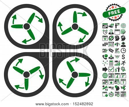 Copter Screws Rotation pictograph with bonus calendar and time management symbols. Vector illustration style is flat iconic symbols, green and gray colors, white background.