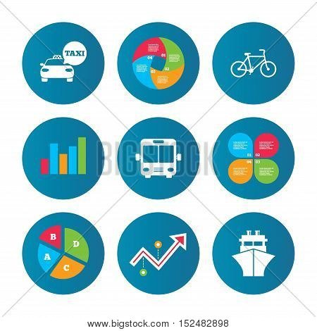 Business pie chart. Growth curve. Presentation buttons. Transport icons. Taxi car, Bicycle, Public bus and Ship signs. Shipping delivery symbol. Speech bubble sign. Data analysis. Vector