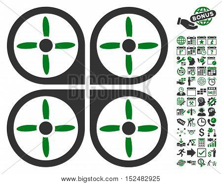 Copter icon with bonus calendar and time management icon set. Vector illustration style is flat iconic symbols, green and gray colors, white background.
