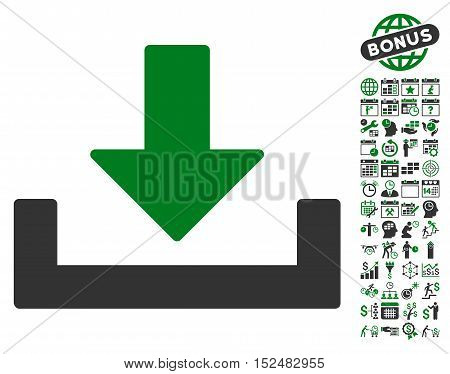 Download icon with bonus calendar and time service pictograph collection. Vector illustration style is flat iconic symbols, green and gray colors, white background.