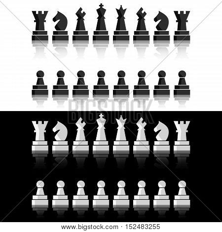 Black chess icons set. Chess board figures. Vector illustration chess pieces. Nine different objects including king, queen, bishop, knight, rook, pawn