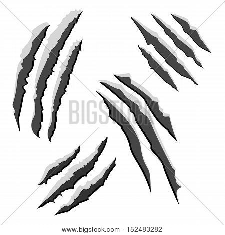 Set of black claw scratches isolated on white background. Vector illustration eps10