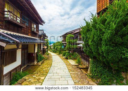 Nakasendo Trail Dense Wooden Houses Magome