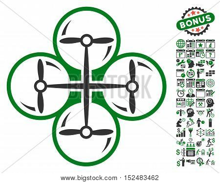 Drone Screws pictograph with bonus calendar and time service symbols. Vector illustration style is flat iconic symbols, green and gray colors, white background.