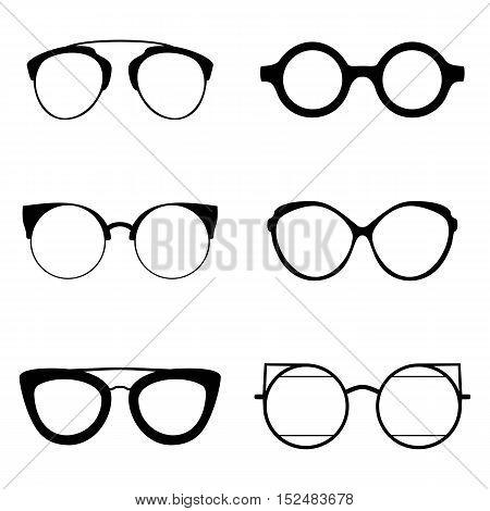 Set of various glasses. Stylish sunglasses for women, men and children. Eye glasses collection. Vector illustration eps10