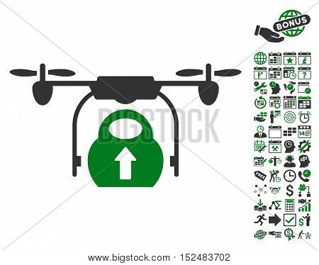 Load Cargo Drone icon with bonus calendar and time service images. Vector illustration style is flat iconic symbols, green and gray colors, white background.