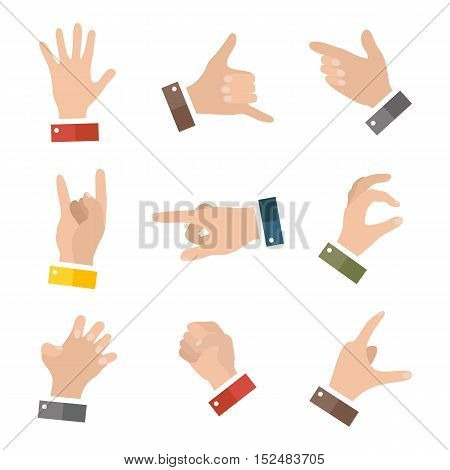Collection of various hand gestures. Hands icons set isolated on white. Vector illustration eps10