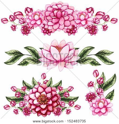 Set of Watercolor Bouquets with Light Pink Lotus and Dahlia