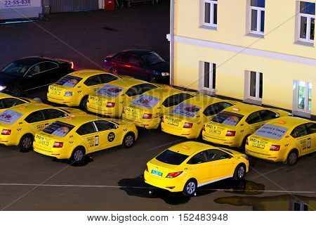 Moscow, Russia - October, 16, 2016:  taxi park in a center of Moscow