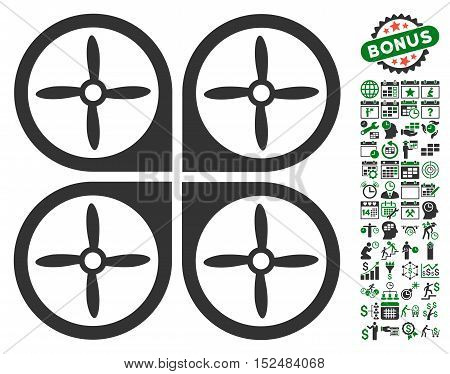Nanocopter pictograph with bonus calendar and time management icon set. Vector illustration style is flat iconic symbols, green and gray colors, white background.