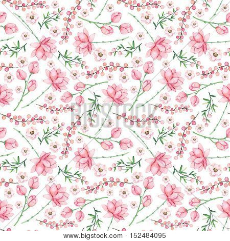 Gentle Seamless Pattern with Watercolor Light Pink Flowers and Berries