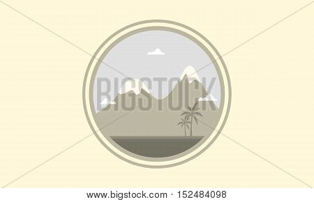 Silhouette of mountain winter scenery vector illustration