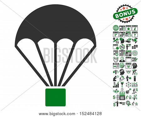 Parachute pictograph with bonus calendar and time service clip art. Vector illustration style is flat iconic symbols, green and gray colors, white background.